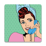 Retro Woman On Telephone Wooden Square Coaster | Artist: Abhinav
