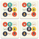 Robots Wooden Square Coaster (Set of 2) | Artist: Abhinav