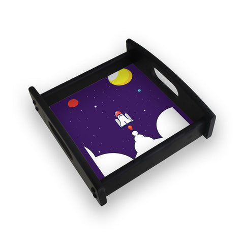 Rocket Launching In The Dark Square Wooden Serving Tray (Ebony)