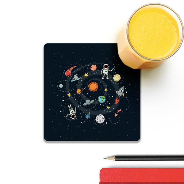 Space Wooden Square Coaster (Set of 4) | Artist: Abhinav