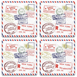Stamps Wooden Square Coaster (Set of 2) | Artist: Abhinav