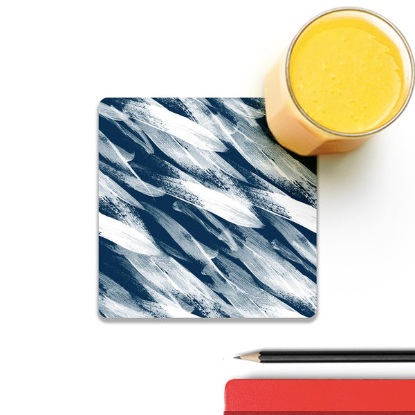Strokes Blue Wooden Square Coaster (Set of 4) | Artist: Abhinav
