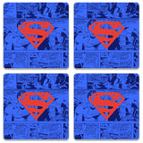 Superman Red On Blue Wooden Square Coaster | Artist: Abhinav
