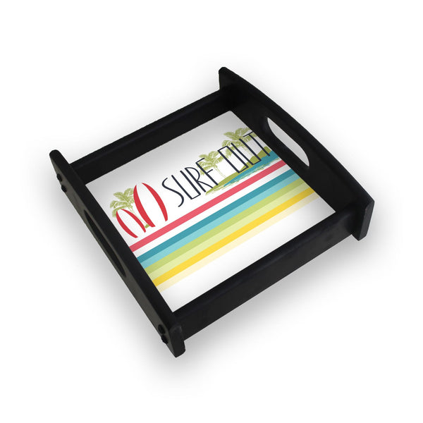 Surf Out With Multicolor Stripes Square Wooden Serving Tray (Ebony)