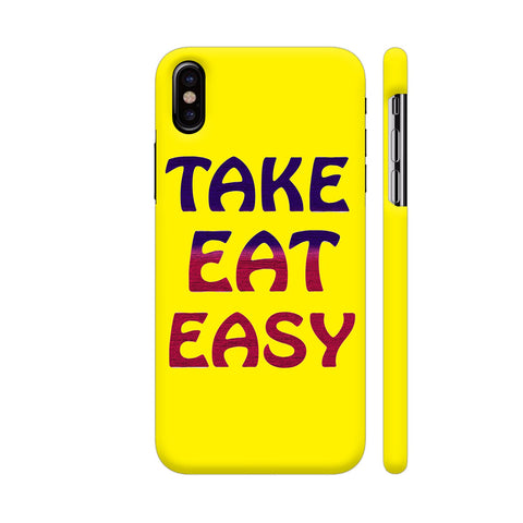 Take Eat Easy On Yellow iPhone X Cover | Artist: Malls