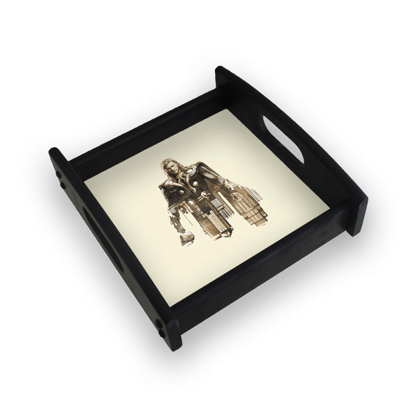 Thor On Cream Square Wooden Serving Tray (Ebony)