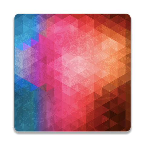 Triangles Shades Of Pink Wooden Square Coaster | Artist: Abhinav