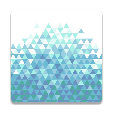 Trippy Triangles Light Blue Wooden Square Coaster | Artist: Abhinav