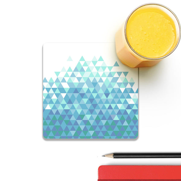 Trippy Triangles Light Blue Wooden Square Coaster (Set of 2) | Artist: Abhinav