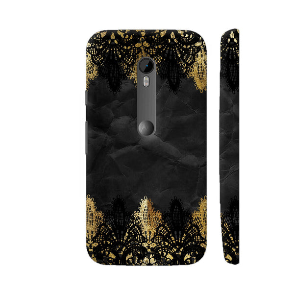 Vintage Shabby Chic Black And Gold Lace On Black Moto G Turbo Cover | Artist: UtART
