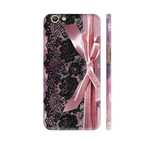 Vintage Shabby Chic Black Lace Pink Ribbon Oppo F3 Cover | Artist: UtART