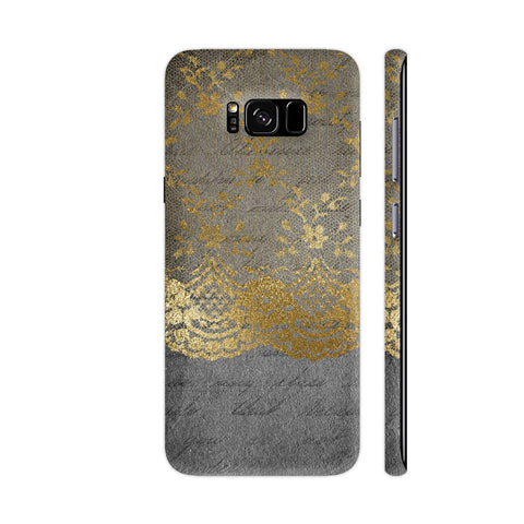 Vintage Shabby Chic Gold Lace On Grunge Black Paper Samsung Galaxy S8 Cover | Artist: UtART