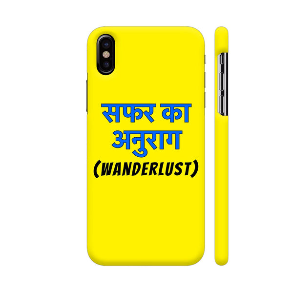 Wanderlust Safar Ka Anurag On Yellow iPhone X Cover | Artist: Malls