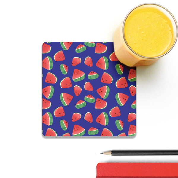 Watermelon Pieces Wooden Square Coaster (Set of 4) | Artist: Abhinav