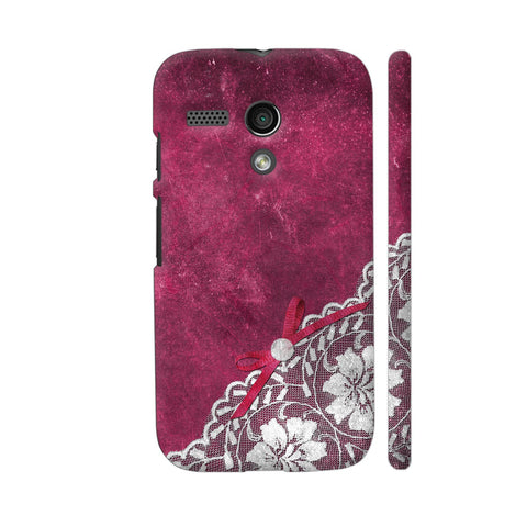 White Lace With Pearl On Pink Grunge Motorola Moto G1 Case