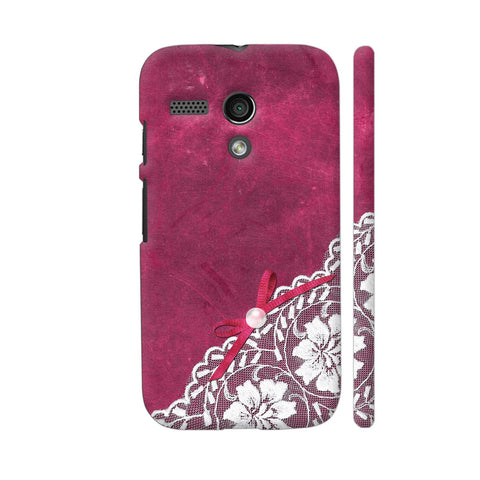 White Lace With Pearl On Pink Motorola Moto G1 Case