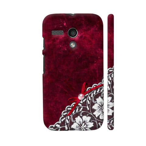 White Lace With Pearl On Red Grunge Motorola Moto G1 Case