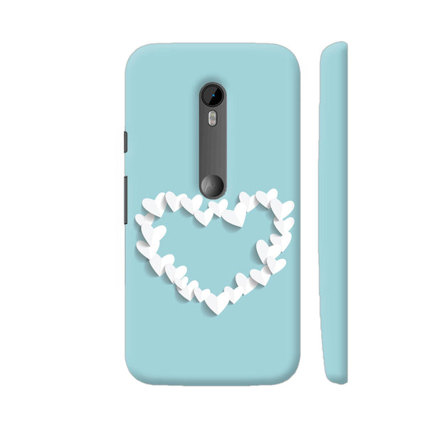White Paper Hearts On Blue Moto G Turbo Cover | Artist: Neeja Shah