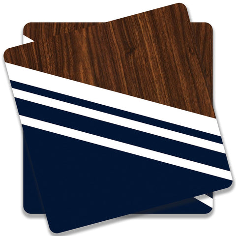 Wooden Slices Blue Coaster (Set of 2)