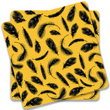 Yellow Feathers Wooden Square Coaster | Artist: Abhinav