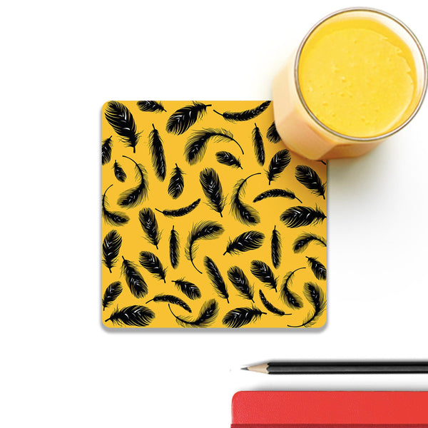 Yellow Feathers Wooden Square Coaster (Set of 2) | Artist: Abhinav