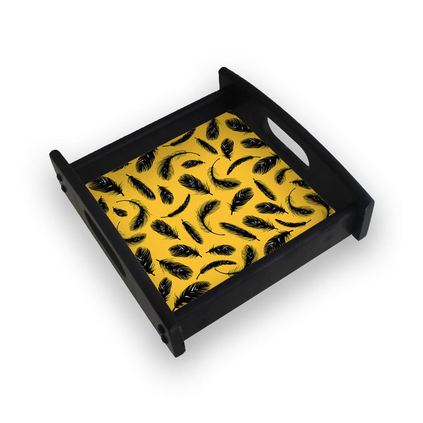 Yellow Feathers Square Wooden Serving Tray (Ebony)