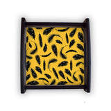 Yellow Feathers Square Wooden Serving Tray (Ebony) | Artist: Abhinav