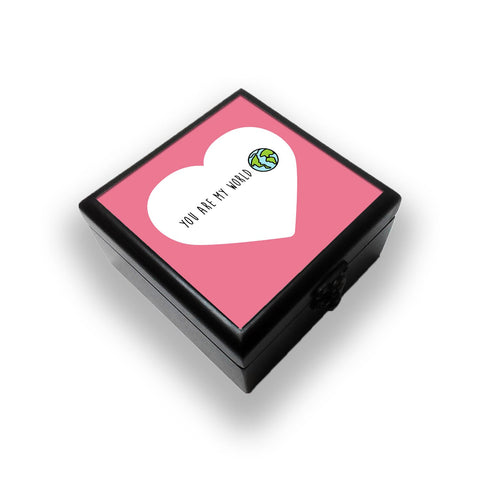 You Are My World In A Heart Jewellery Box