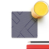 Zebra Lines Wooden Square Coaster (Set of 4) | Artist: Abhinav