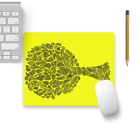 Zentangle Tree On Yellow Mouse Pad Black Base | Artist: Dharanisr