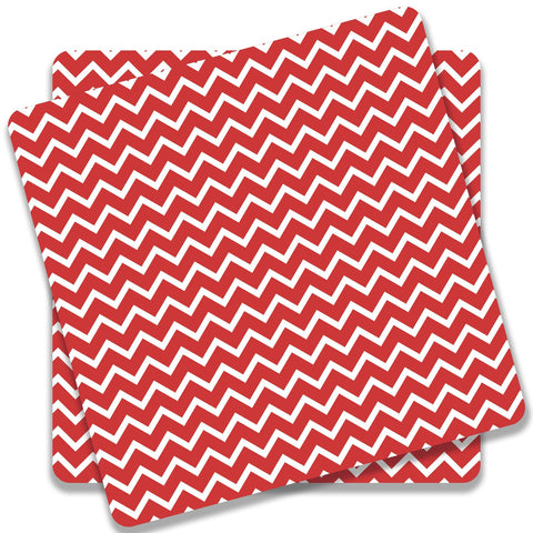 Zigzag Red Coaster (Set of 2)