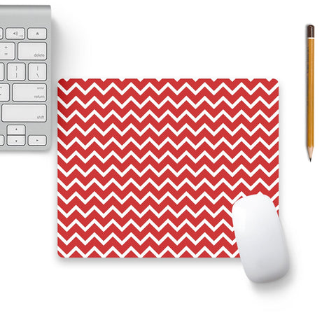 Zigzag Red Mouse Pad Black Base | Artist: Abhinav