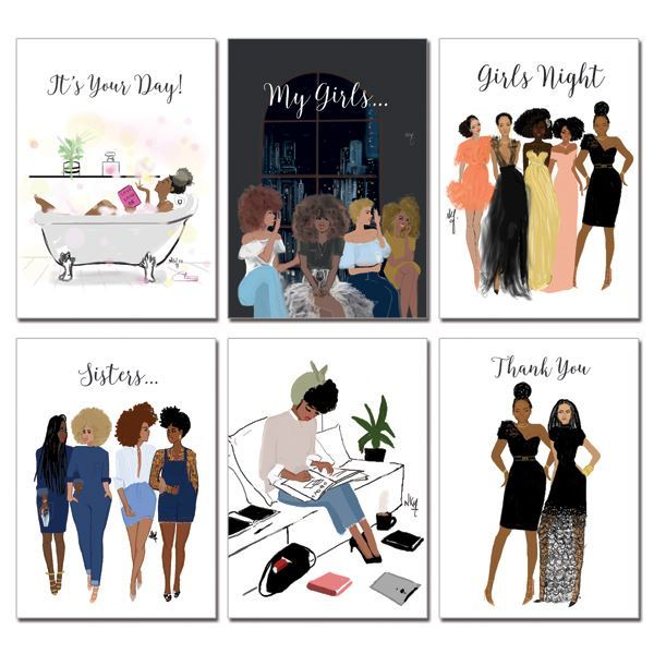 "Boxed Greeting Cards (Set of 6) - ""Girlfriends Series"" - Nicholle Kobi"