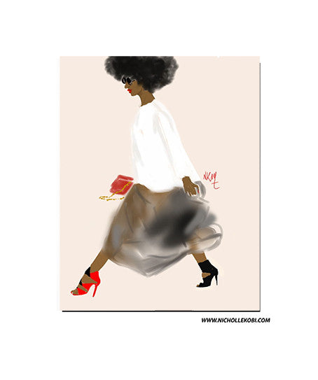 Art Print / Poster Black Girl Walking - Nicholle Kobi