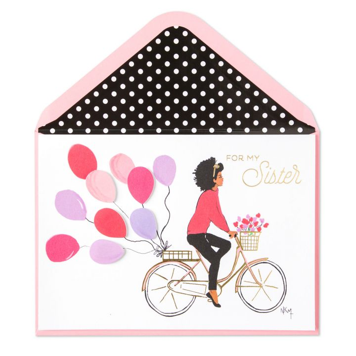 Girl on Bike Birthday Card (For Sister) I Papyrus x Nicholle Kobi - Nicholle Kobi