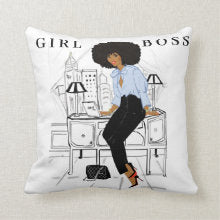 Girl Boss I Square Pillows