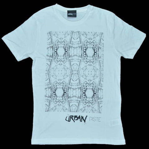Unisex T-Shirt - 1950 black pattern  on white with URBAN piste logo . Screen printed on to 100% combed cotton in the UK