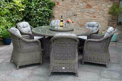 roma 6 seater wicker round table dining set