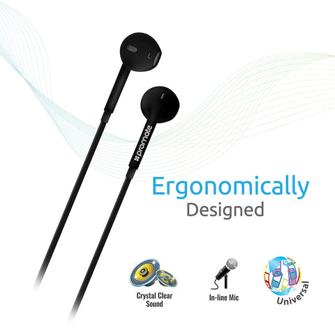 Promate gearPod-iS Premium Universal Ergonomic In-ear Stereo Earphone with In-line Remote & Mic for Music & Calls For All Mobile Phones