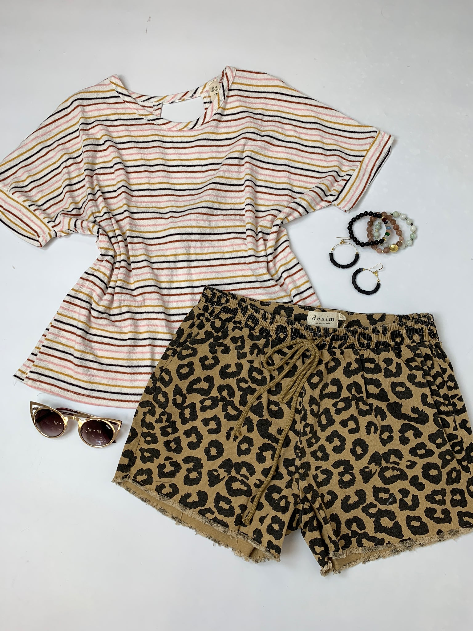 Stripped shirt, cheetah print shorts, beaded jewelry and sunglasses styled by SoSis in Port Allen, LA