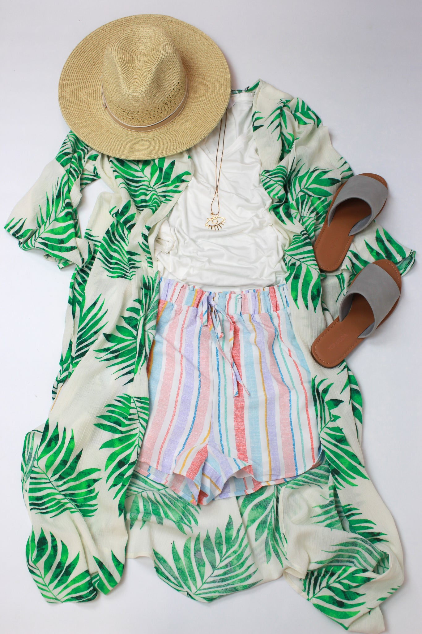 panama hat, leaf printed kimono, white t shirt stripped shorts and grey sandals styled by SoSis in Port Allen, LA