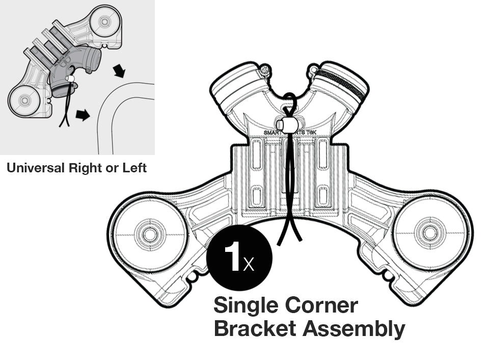 Corner Bracket assembly, SINGLE, GEN 3 - Smart Backstop for Lacrosse
