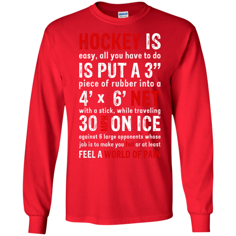 Hockey is easy Cotton Mens Long Sleeve T-shirt