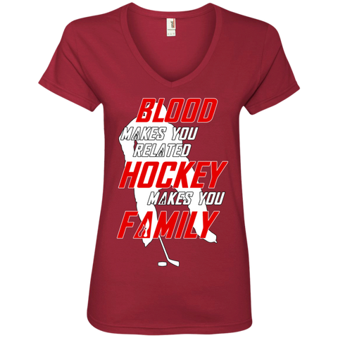 Hockey Family Ladies V-Neck T-shirt