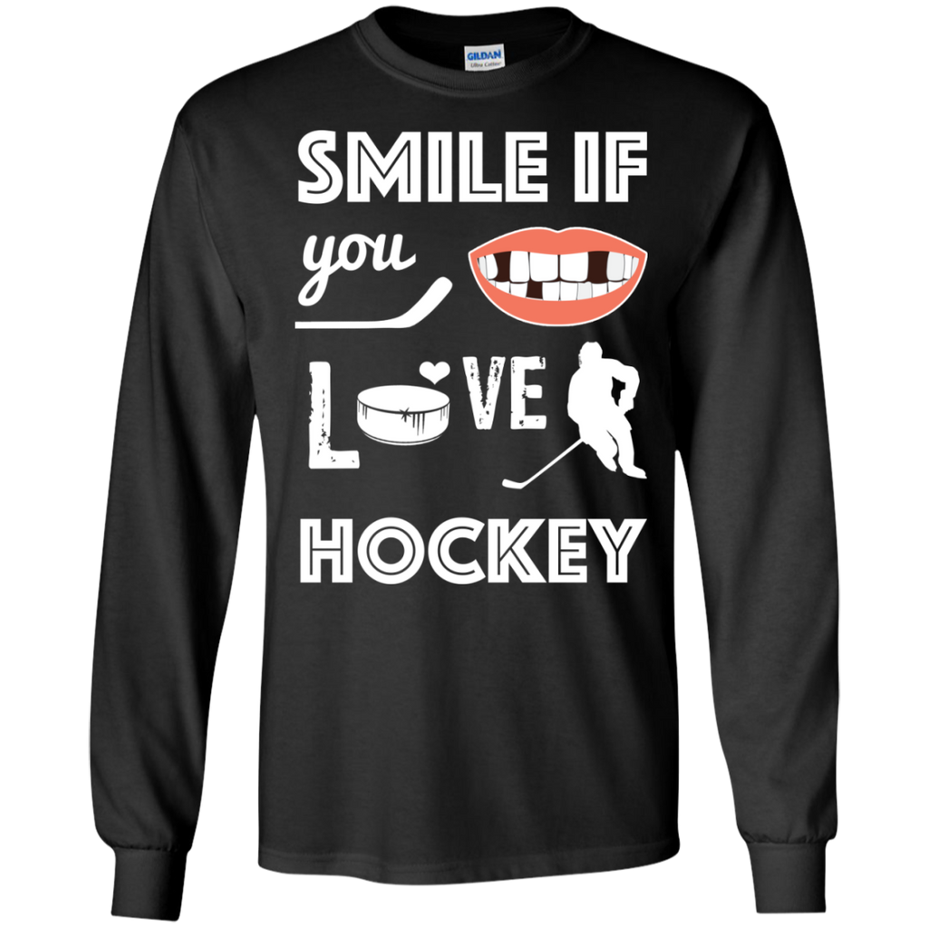 Hockey smile Cotton Mens Long Sleeve T-shirt