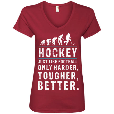 Hockey is better Ladies V-Neck Tee