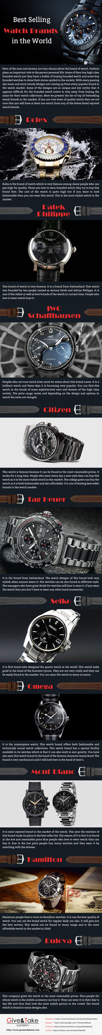 best selling watch brands in the world infographic