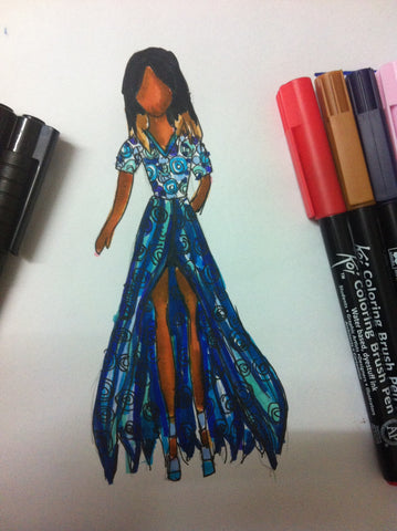 Blue spiral evening gown
