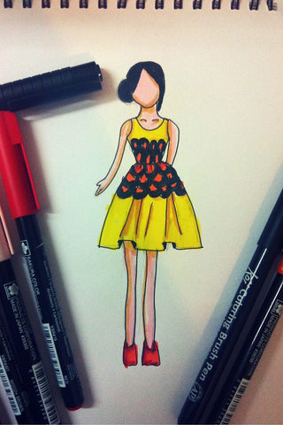 Yellow, orange and black casual dress