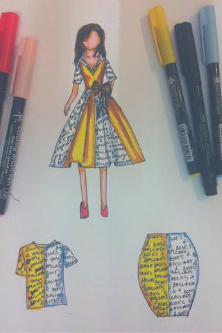 books and ballads graphic yellow dress